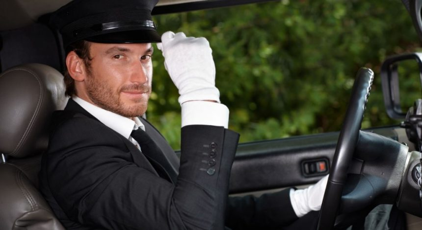 Driver with white gloves